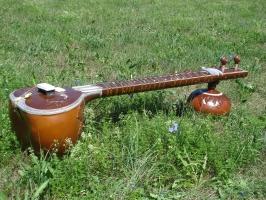 Sitar 18 Saiten mit Instrumentenkoffer, Ersatzsaiten und Lehrbuch