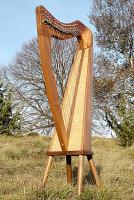 Harfe 19 Saiten Walnuss + NK + Bodenplatte + Füße +Tasche + Zubehör