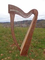 Harfe 27 Saiten Rosenholz verziert A2, neue Klappen + Füße + Zubehör
