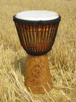Afrikanische Djembe Ghana, restauriert - veredelt 65 / 37 / 25 cm Tweneboaholz + Tasche
