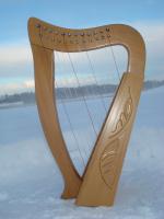 Harfe 12 Saiten Buche verziert + Zubehör