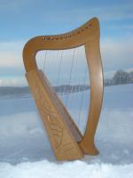Harfe 12 Saiten Buche + Zubehör + Notenheft