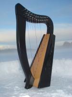 Harfe 12 Saiten Buche schwarz verziert + Zubehör