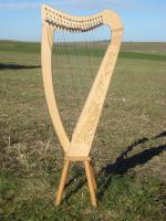 Harfe 19 Saiten Buche verziert, neue Klappen + Füße + Zubehör