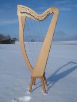 Harfe 27 Saiten Buche  glatt C3, neues Klappensystem + Füße + Zubehör