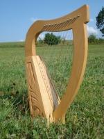 Harfe 12 Saiten Buche verziert mit Tasche