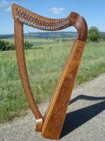 Harfe 22 Saiten Rosenholz verziert + Tasche + Zubehör