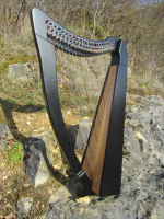 Harfe 22 Saiten Buche schwarz + Zubehör